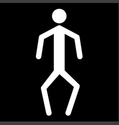 A man with crooked legs the white color icon vector