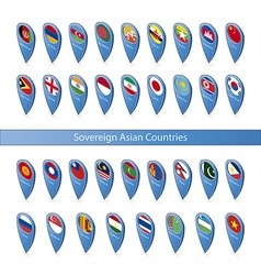 Pin flags of the sovereign asian countries vector