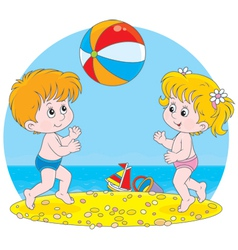 Children play a ball vector