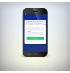 Smartphone with a subscription form vector image