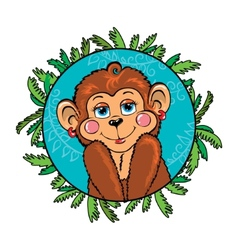 Funny monkey girl shy as part of the leaf vector