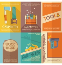 Carpentry poster set vector
