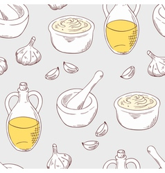 Hand drawn aioli sauce seamless pattern background vector