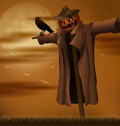 Halloween night evil scarecrow vector