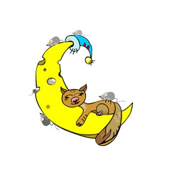 ginger cat sleeping on the moon on a white backgro vector image