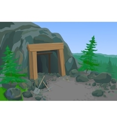 Old mine with shovel and pick vector