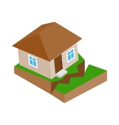 House with crack in the ground icon vector