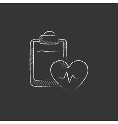 Heartbeat record drawn in chalk icon vector