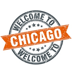 Welcome to chicago orange round ribbon stamp vector