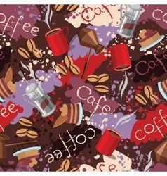 Spots background with scattering of coffee beans vector