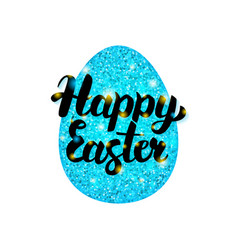 Blue happy easter greeting vector
