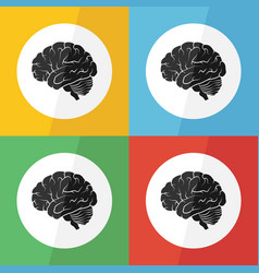 brain icon flat design vector image vector image