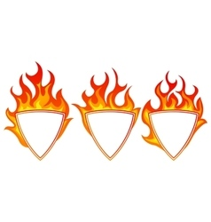 Burning shield form frame vector
