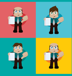 Businessman manager at work holding report book vector