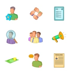Career icons set cartoon style vector