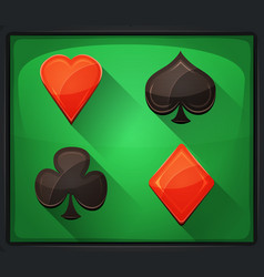 Casino poker icons on green carpet vector