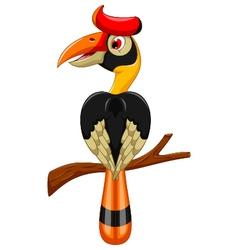 Cute horn bill cartoon sitting on the branch vector