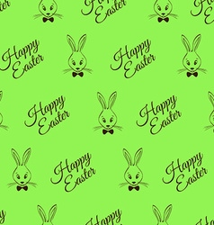 Easter Seamless Pattern With Rabbits And Greeting vector image vector image
