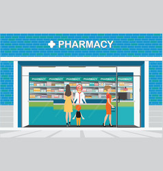 Female pharmacist at the counter in a pharmacy vector