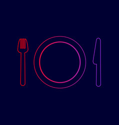 fork plate and knife line icon with vector image vector image