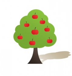 green tree with apple illustration vector image vector image