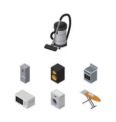 Isometric technology set of stove microwave vector
