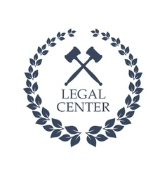 Legal center icon of judge gavel and wreath vector