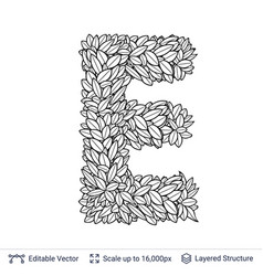 Letter e symbol of white leaves vector