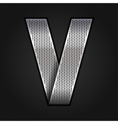 Letter metal chrome ribbon - V vector image vector image