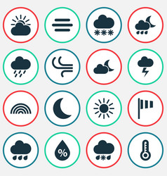 Nature icons set collection of moisture vector
