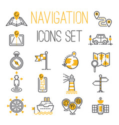 navigation outline location pin pictogram vector image vector image