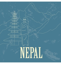 Nepal landmarks Retro styled image vector image