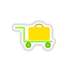 Paper sticker on white background suitcase on vector