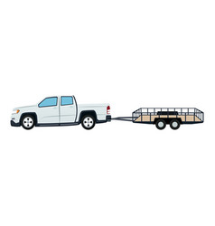 Pickup truck and dump trailer work transport vector