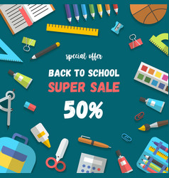 sale poster set of randomly arranged school vector image