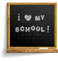 school blackboard with expression i love my school vector image