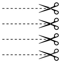 scissors cut lines vector image vector image