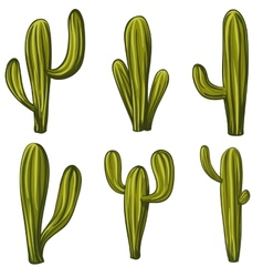 Set of cartoon cacti vector image