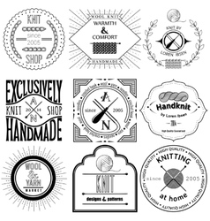 Set of vintage knitting labels badges and design vector image