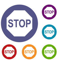 Stop sign icons set vector