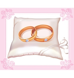 Wedding gold rings on satin pillow vector image