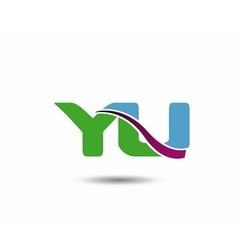 Yu negative space letter logo vector