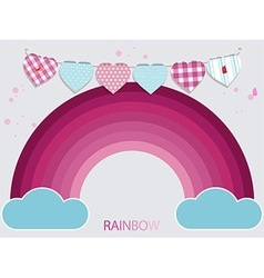 Kids pink rainbow and bunting background vector image