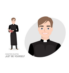 Priest in cassock with a bible in cartoon style vector