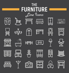 Furniture line icon set interior sign collection vector