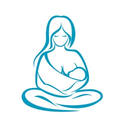 Mother holding baby in the sling symbol vector