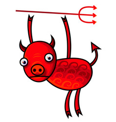 Funny with a red cartoon devil vector