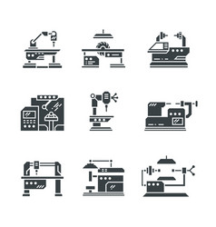 Steel industry machine tools icons vector