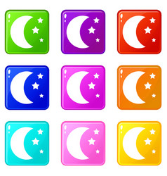 Moon and stars icons 9 set vector