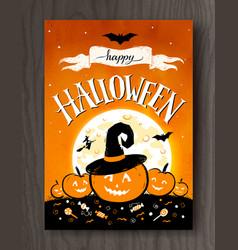 Halloween postcard with moon and pumpkins vector